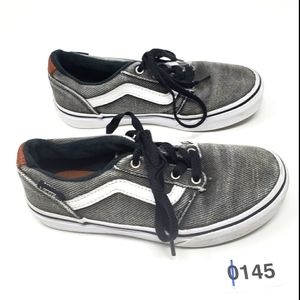 VANS Lace Up Sneakers Shoes Grey & White Boys 3.5